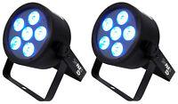 (2) Chauvet DJ SLIMPAR T6 USB Slim Tri-Color LED Wash Lights SLIMPART6USB