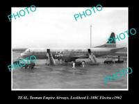OLD POSTCARD SIZE AVIATION PHOTO OF TASMAN EMPIRE AIRWAYS LOCKHEED ELECTRA 1962