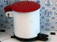 Metal Pedal Bin de Rojo Tapa, Casa De Muñecas Miniaturas Accesorio De Cocina