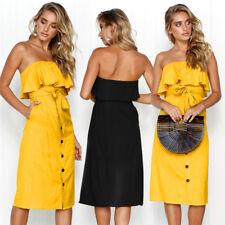 UK Womens Holiday Ruffles Midi Dress Ladies Summer Beach Jumper Bandeau Sundress