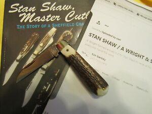 Vintage Stan Shaw Handmade Stag Folder. 1980s Sheffield, England. Unused. Nice