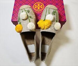 NIB Tory Burch Lily Platform Espadrille, Linen/Embroidery Natural $228