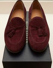 NEW Ralph Lauren Chessington Italy Burgundy Suede Leather Loafer Dress Shoes 7.5