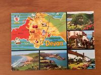 Unused Map Postcard of Devon with Pictures by John Hinde