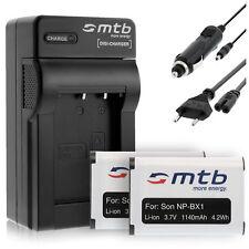 2x Baterìas NP-BX1 + Cargador para Sony Cyber-shot DSC-WX300, WX350