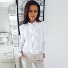 Womens Long Sleeve Blouse Office V-Neck Ruffle Front Shirt Casual Tops Fashion