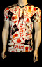 Men's Gothic Playing Cards Skull Heart Tattoo Print V Neck T-shirt Top Punk Emo