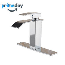 Chrome Brass Bathroom Faucet Basin Mixer Sink Tap Waterfall Single Hole+Cover