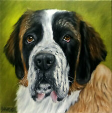 St Bernard Dog Oil Painting Animal Pet Portrait Realism Style