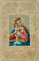 Votivkarte, Votivbild m. Darstl. gekrönter Maria m. Jesuskind, 19. Jhd.
