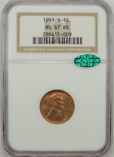 1951-S 1C Lincoln Wheat Cent (GEM RED) NGC MS67 RD #289415-009  CAC CERTIFIED!!!