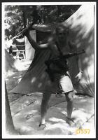 cute boy w gun, unusual, Vintage  Photograph, 1960'