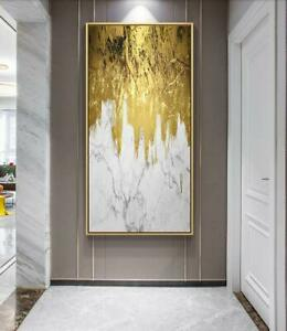 """YA1444 Decor art 100% Hand-painted abstract gold foil oil painting Unframed 36"""""""
