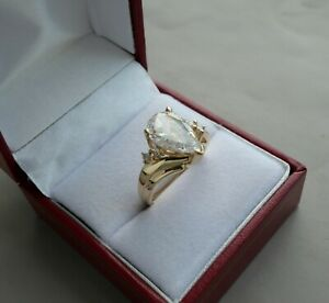 14K YELLOW GOLD 3.0 CT PEAR SHAPE  CUBIC ZIRCONIA ENGAGEMENT  RING