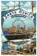 Santa Monica California Montage Ferris Wheel Pacific Park Surfing, Mod. Postcard
