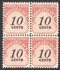 Vintage Unused US Postage DUE Block of 10 Cent POSTAGE DUE Stamps