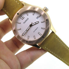 44mm Parnis Sapphire Automatic Movement Men's Watch Rose Gold Case White Dial
