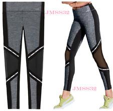 41d9323b8f9be Victoria's Secret Pink Ultimate Mesh Bonded Leggings Marl Gray Black L NIP