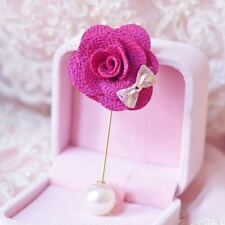 Bow Flower Pearl Brooch Wedding Accessories Corsage Muslim Hijab Scarf Pin Women