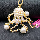 Betsey Johnson Pearl Cute Octopus Animal Pendant Necklace Chain Jewelry Gift