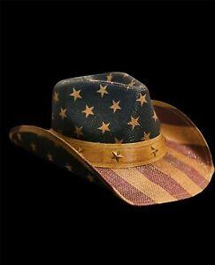 Vintage American Flag Star Studded Straw USA Cowboy Hat BRAND NEW FREE SHIPPING
