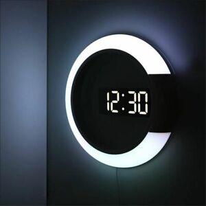 Digital LED Hollow 3D Wall Clock Watch Nightlight Modern Table Home Decorations