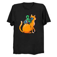 Alien Cat Space Planet Animal Pet Universe Cosmic Galaxy Funny Black T-shirt