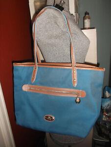 Coach New York Blue Nylon w/ Brown Trim Tote Shoulder Handbag Purse