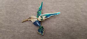 Colorful Crystal Rhinestones Humming Bird Pendant Brooch Pins