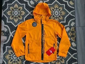 THE NORTH FACE YOUTH FLURRY WIND HOODIE, ZINNIA ORANGE, NWT, SMALL (7/8)