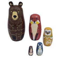 5pcs Bears Wooden Russian Nesting Dolls Babushka Matryoshka Dolls Kids Gifts