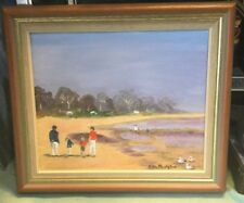 Signed Beach Scene Feamed Oil Painting