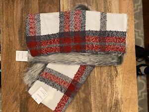 """NEW! 2 Pottery Barn Graham Plaid Faux Fur Back 18"""" Pillow Cover-Lot Of 2 For $84"""