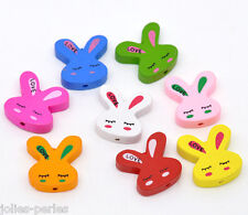 50 Mixed Multicolor Cute Rabbit Wood Beads 20x20mm