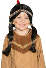 Girls Black Native American Indian Wild West Fancy Dress Costume Outfit Wig