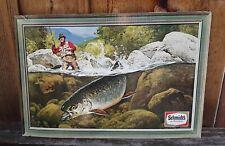 Vintage Cardboard Schmidt`s Beer Fishing Themed Advertisement.