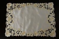 Solid White Beige Fabric Embroidered Placemats Runner Wedding Bridal Table Decor