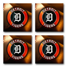 Detroit Tigers Baseball Rubber Square Coaster set (4 pack) SRC2009