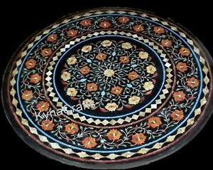 27 Inches Marble Inlay Table Top with Floral Design Coffee Table for Garden