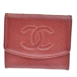 Auth CHANEL CC Logo Bifold Coin Case Wallet Cavair Skin Leather Bordeaux 05BS255