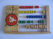 VINTAGE WOOD CHILDREN'S ABACUS LEARNING TOY~TIME CLOCK~MATH SKILLS~TEDDY BEAR