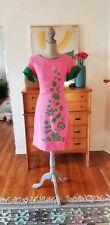Vintage 60s Dress Mod Mini Linen 70 Hippie Color Block Pink Green Aline XS Small