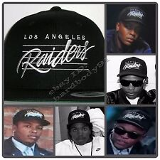 Vintage Snapback Replica LA Los Angeles Raiders Lined Black Cap Hat NWA EAZY E