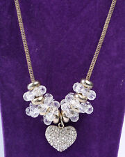 Gold Tone Mesh and Clear Crystal Necklace with Heart Rhinestone Pendant