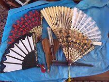 Lot Of 8 Antique/Oriental/Vintage/ new / Victorian Age Lace Fans-repair or parts