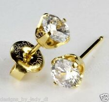 "Ear Piercing Studs Earrings Gold With Round 5mm Clear CZ ""Studex System 75"""