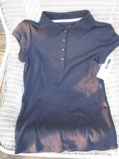 (2) IZOD APPROVED SCHOOLWEAR GIRLS SHORT SLEEVE POLO TOPS  NAVY  MEDIUM 7/8 NWT