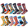 12 Pairs 1 Dozen Mens Cotton Colorful Socks Lot Funny Novelty Casual Dress Socks