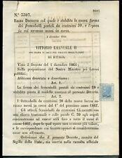 1866 Regno De La Rue Saggi Saggio Prova cent. 20 cent. Bigola su decreto b