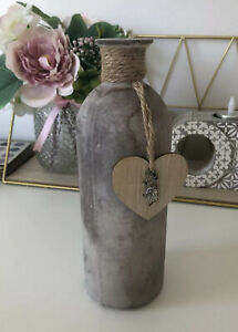 Decorative Grey Bottle With Wooden Heart And Silver Coloured Stag Head